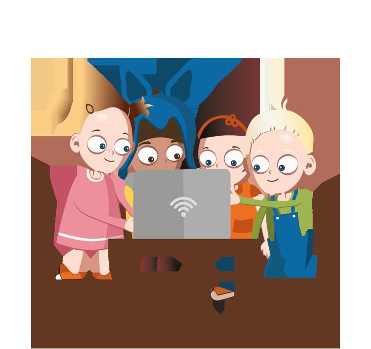 Små barn rundt laptop